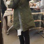 冬コートレディース「ボリュームのあるファー付モッズダウン入りコート」着画像あり