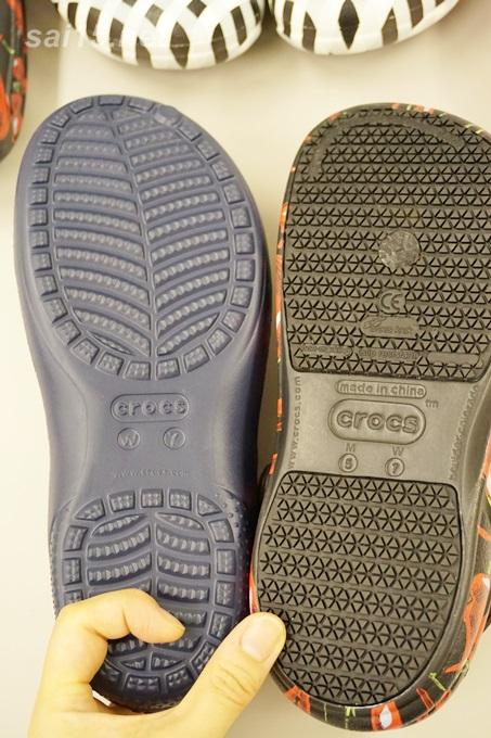 靴裏のすべりどめ比較 crocsビストロ